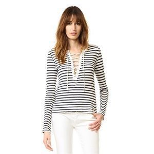 Pam & Gela Striped Lace Up Tee
